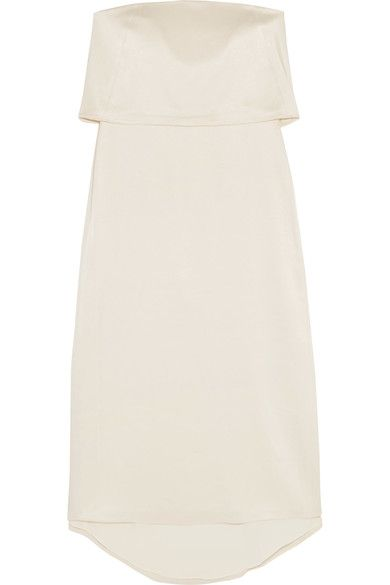 Halston Heritage - Tiered Satin Midi Dress - Cream - US14