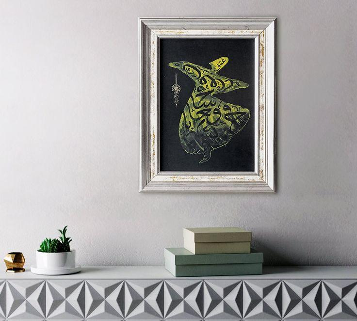 New in #etsy shop: Islamic Gift Whirling Dervish Painting http://etsy.me/2tsEmfY #everythingelse #religious #yellow #housewarming #black #dervish #giftformuslim #derviche #peinture #islamique #malerei #arabische #gift #muslimische #kunst #persian #cadeaus #islamitische