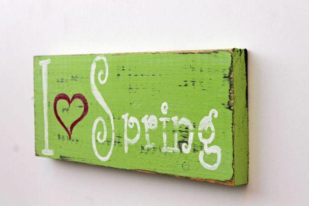 Wanddeko - MÄRZenbecher Holzschild I love Spring - ein Designerstück von Linda-Thom-Lillis-Handcraft bei DaWanda