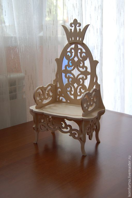 """Купить Кукольный трон """"Трон царя Гороха"""", """"Трон для принцессы"""" - кукольная мебель, кукольный стульчик"""
