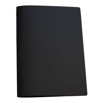 Tuscan Leather A4 Black  A black leather restaurant menu cover designed to hold an A3 sheet folded in half horizontally.