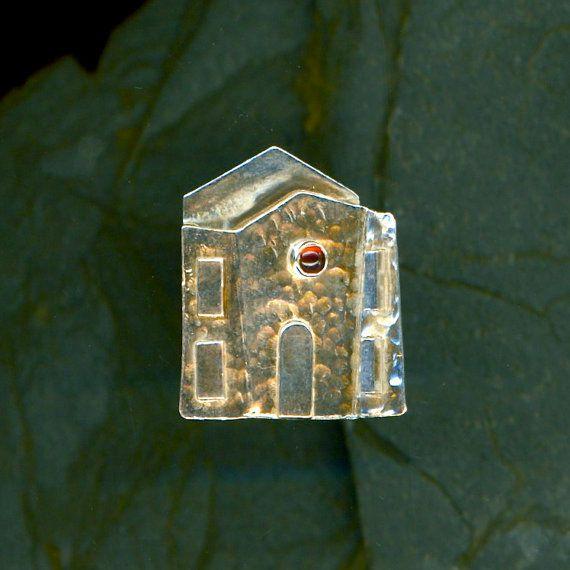 Silver Garnet Brooch House Sterling Pin House Garnet Stone