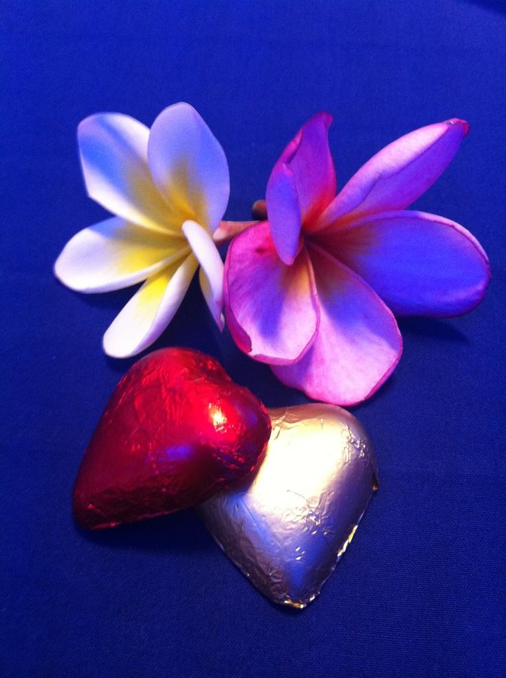 Frangipani and hearts <3