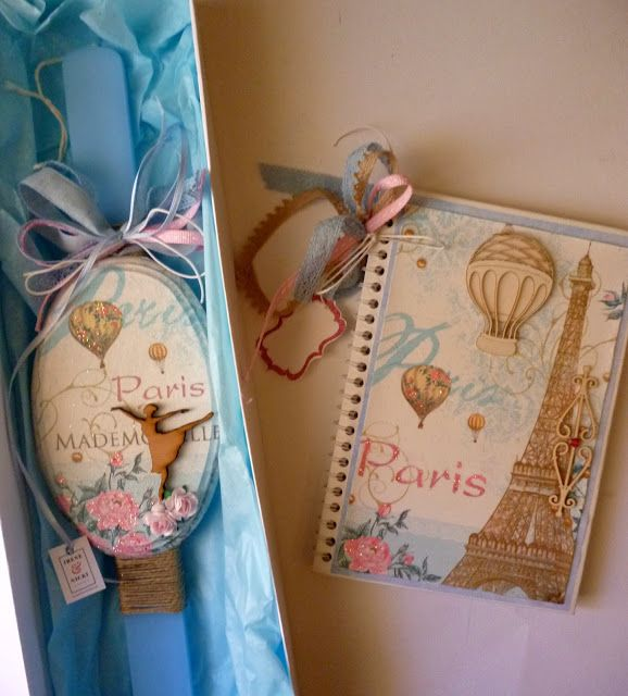 Irene & Nicki Crafts:  Romantic Paris Easter Candle and Notebook Hi ever...