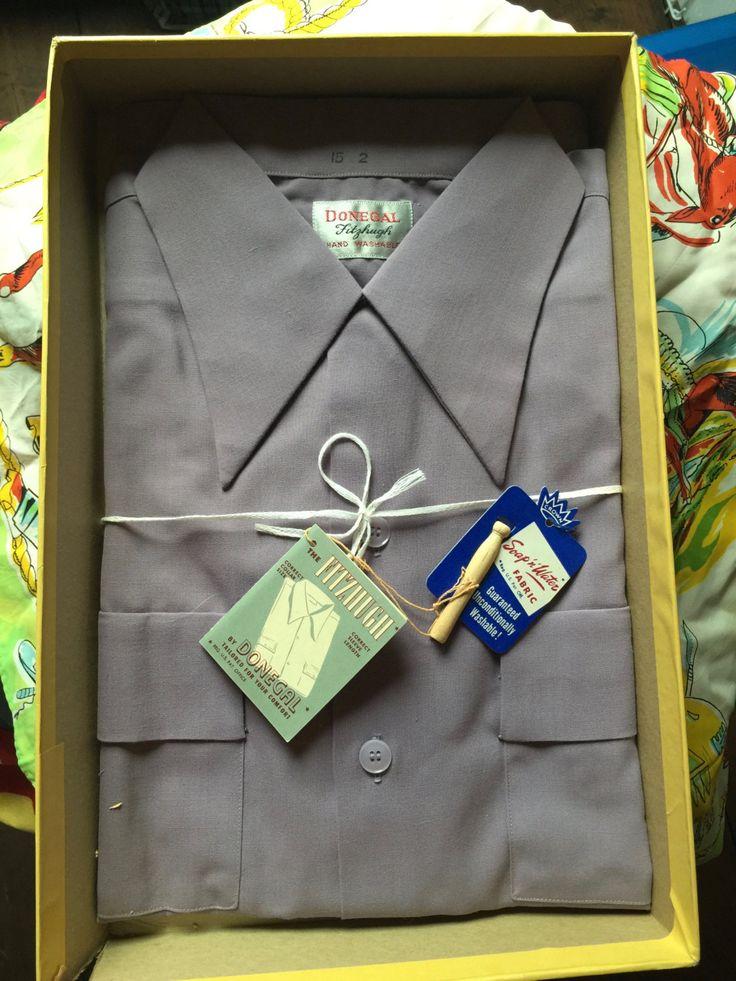 1940s NEW in the box mens shirt, lavender color, door Tonupgirl op Etsy