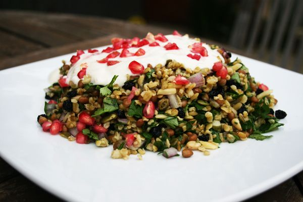 Grain Salad with Yoghurt Dressing and Pomegranate