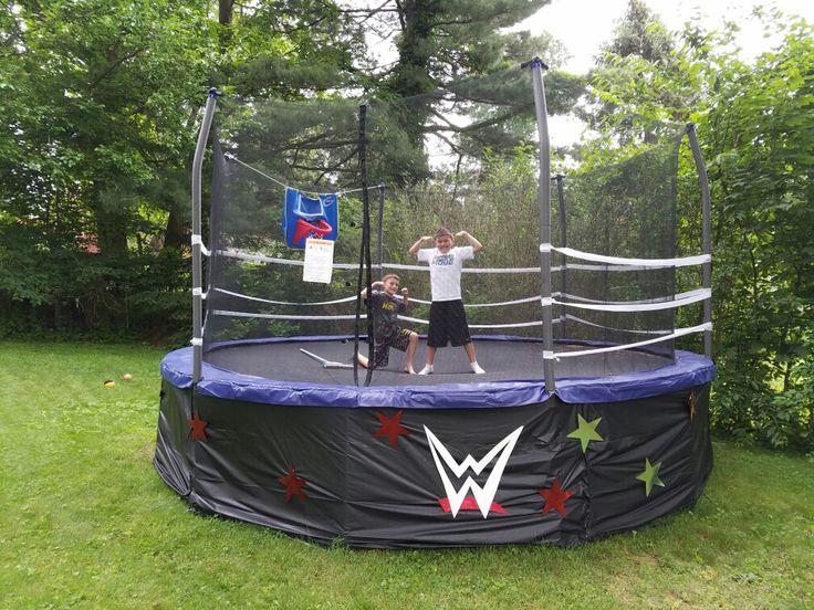 WWE trampoline wrestling ring, dollar store creativity!