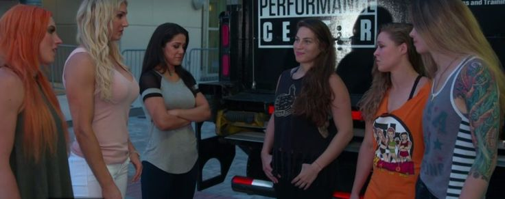 WATCH: Things got real between Ronda Rousey and her crew and WWE's 4 Horsewomen