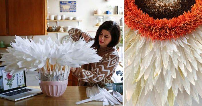 Jej kvety vyzerajú rozprávkovo krásne. Aj takéto sú výtvory vyrobené z krepového papiera! Tiffanie Turner tvorí handmade obrovské kvety z krepového papiera