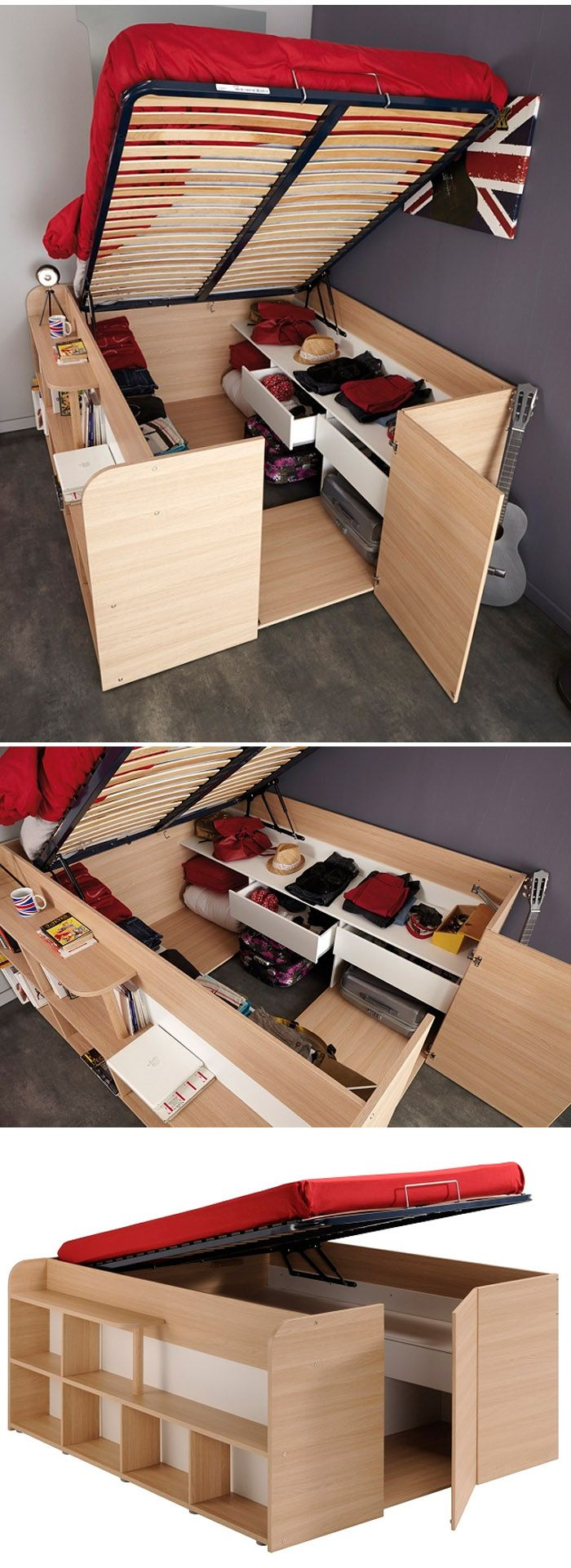 space-saver Space-Up Double Bed    http://www.goodshomedesign.com/space-up-double-bed/