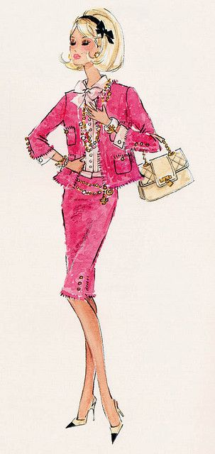"""Preferably Pink"" or ""le vie en Rose"" Barbie - Chanel Suit & accessories"