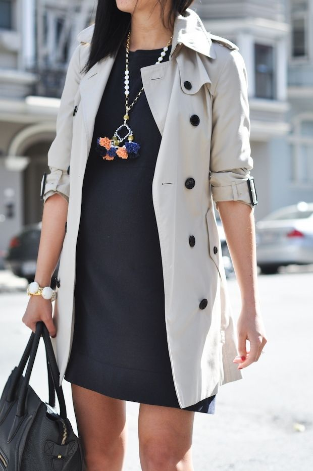 Short trench & statement necklace
