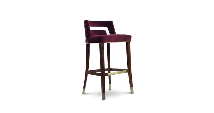 NAJ Bar Chair Contemporary Design by @brabbu  is a velvet bar stool with back which will fulfill any interior decor. #livingroomchairs  #diningroomchairs #redchair upholstered dining chairs, modern chairs ideas, upholstered chairs | See more at http://modernchairs.eu