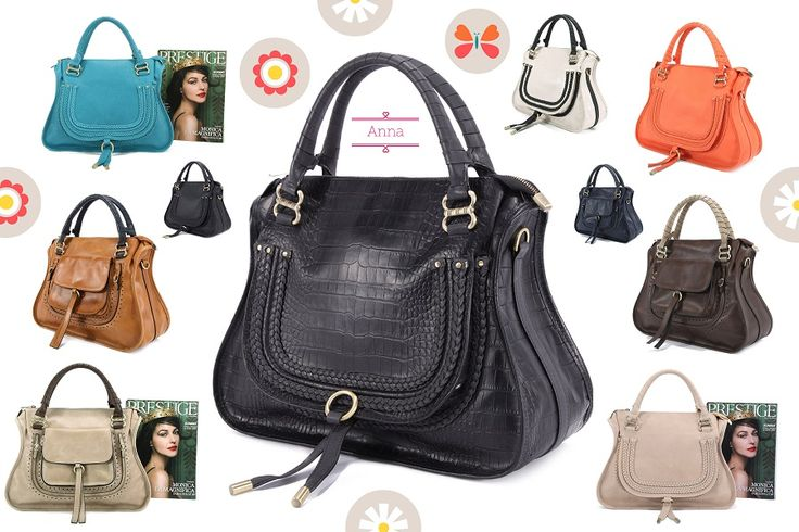 Pink Corporation Anna Handbag in Croc Black Leather