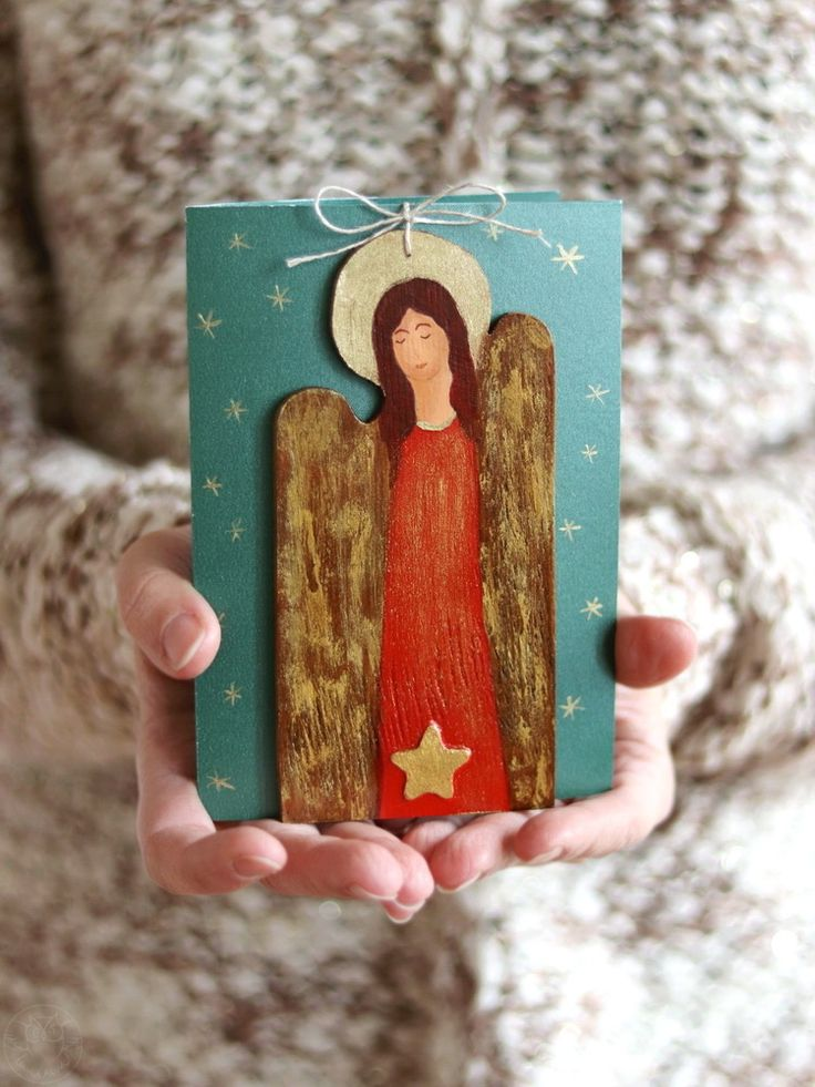 Handmade Christmas card with wooden angel