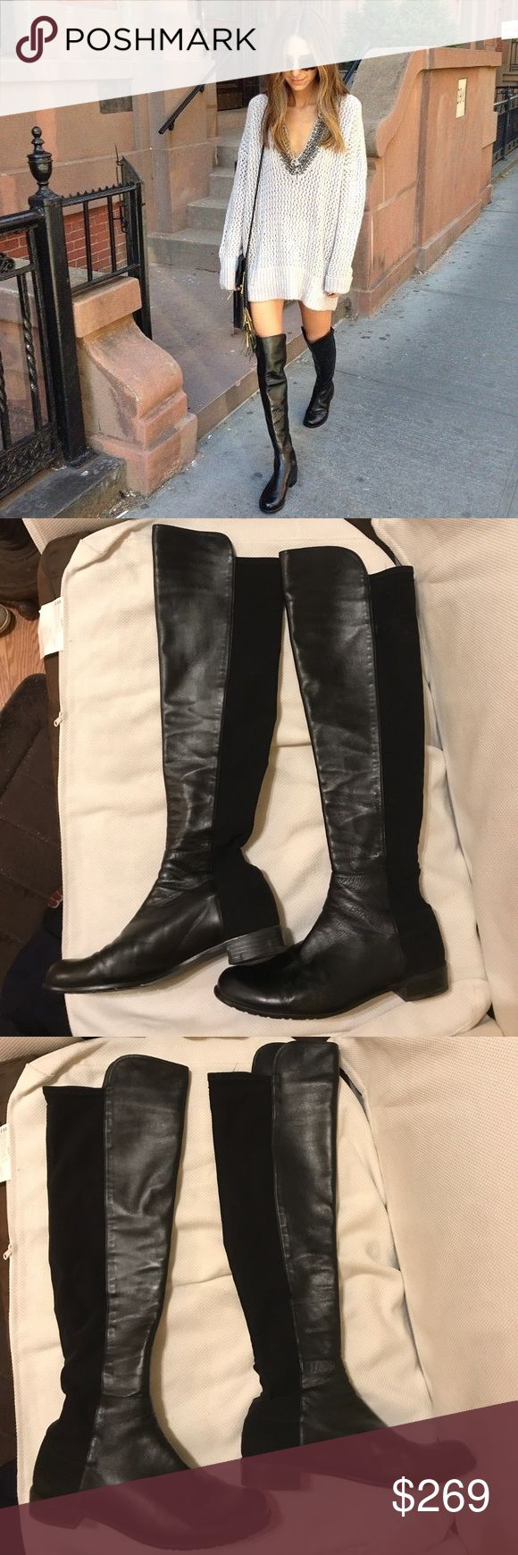 "Stuart Weitzman 5050 Over the Knee Boots Nappa 12 Great Condition. An iconic over-the-knee boot in supple leather is fitted with a stretchy back panel for a sleek, comfortable fit that adjusts perfectly to your silhouette, making this wardrobe-staple style a favorite among editors, stylists and celebrities. 22 1/2"" shaft; 12"" - 15"" calf circumference. Pull-on style Synthetic and leather upper/textile and leather lining/rubber sole Imported Salon Shoes Stuart Weitzman Shoes Over the Knee…"
