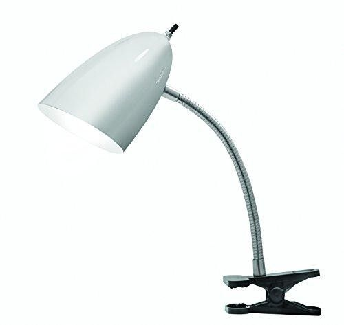 Illuminada 17974-002 Modern Gooseneck Clip-On Desk Lamp, 19-Inch, Brushed Steel  The #Illuminada 17974-002 19-Inch brushed steel clip-on desk lamp is ideal for a bedroom, office, college dorm or school desk. The lightweight metal clip-on table lamp features a brushed steel finish on the bendable gooseneck base and black clip with a brushed steel adjustable shade allowing easy positioning in any direction. This clip-on desk lamp is ideal for reading, studying, detail, craft or hobby...