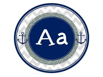 Adorable nautical themed word wall alphabet anchor words back to school