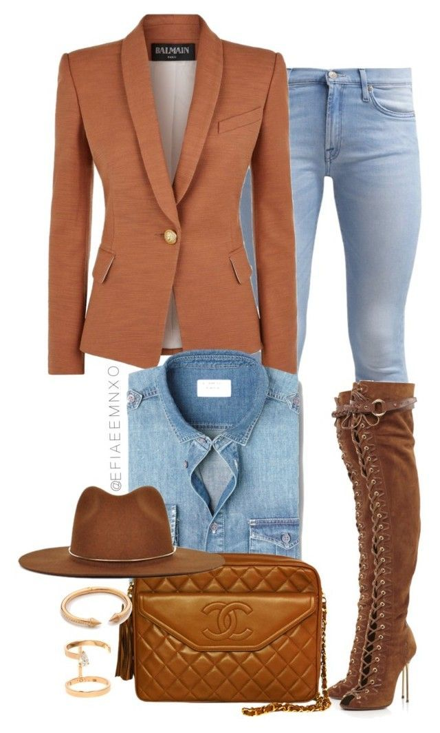 Whiskey by efiaeemnxo on Polyvore featuring polyvore moda style Balmain 7 For All Mankind Emilio Pucci Chanel Repossi Vita Fede Janessa Leone MANGO MAN fashion clothing