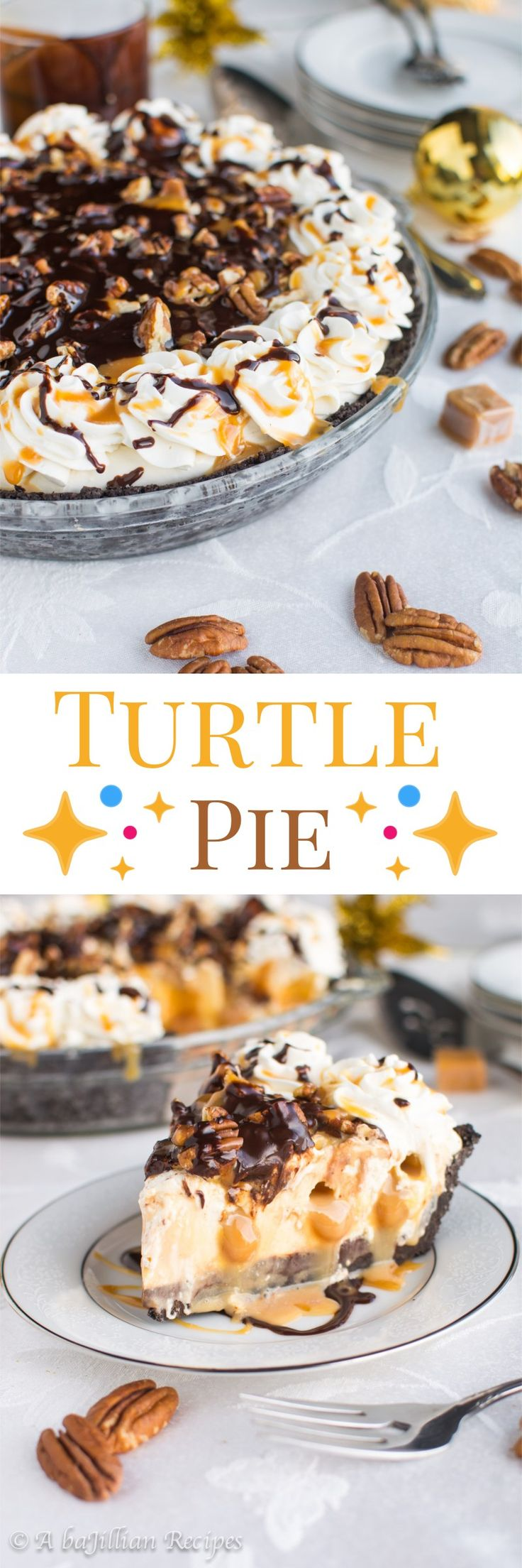 Turtle Pie - An Oreo cookie crust filled with a layer of dark chocolate ganache, a no-bake cheesecake filling INJECTED with pockets of caramel, and topped with caramel, ganache, and chopped pecans!