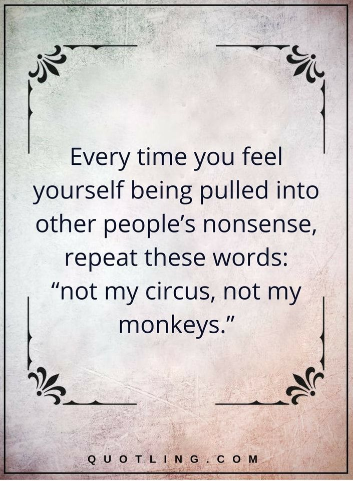 "Life Lessons | Every time you feel yourself being pulled into other people's nonsense, repeat these words- ""not my circus, not my monkeys."""
