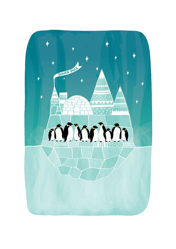 Penguins Art Print Animal Illustration South Pole by dekanimal, $18.00
