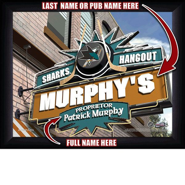 San Jose Sharks NHL Hockey - Personalized San Jose Sharks Pub Hangout Print / Picture. Now, with our Personalized NHL Sports Pub Hangout Print, your favorite fan can become the Proprietor of THEIR OWN Sports Bar! This exciting gift is perfect for any NHL hockey fan. Optional framing with mat is available. Perfect for gifts, rec room, man cave, bar, office, etc.   (http://www.oakhousesportsprints.com/san-jose-sharks-pub-hangout-print/)