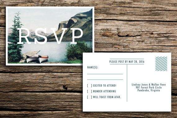 Vintage Lake Wedding Invitation & Vintage Postcard by factorymade