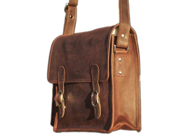 "Large Wide BROWN Leather Satchel 16"" for laptop netbooks ipad - An Old School Satchel. See more @ www.realleather.com.au"