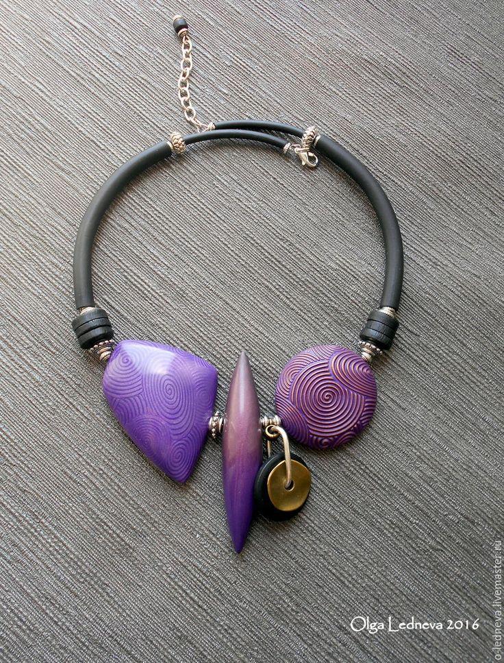 Купить Колье из полимерной глины - фиолетовый, украшения ручной работы, украшение на шею, колье