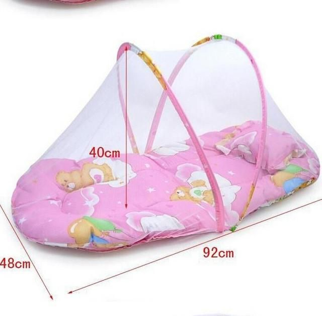 Promotion portable baby bed foldable baby crib with mosquito net spring
