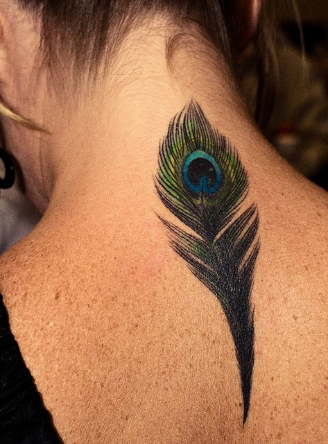 Pure art.: Tattoo Ideas, Peacock Tattoo, Peacocks, Neck Tattoo, Peacock Feather Tattoo, Tattoo'S, Peacock Feathers Tattoo, A Tattoo, Feather Tattoos