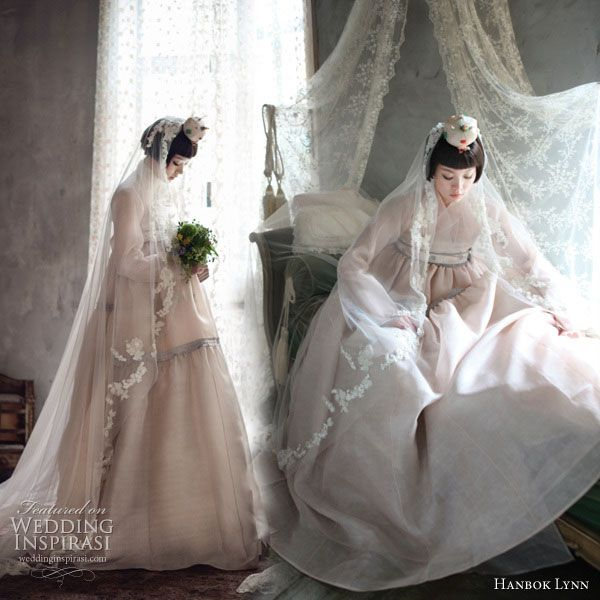 Modern Korean Hanbok - the traditional korean dress given an update using unusual materials such as chiffon, in lighter colors and worn with a veil
