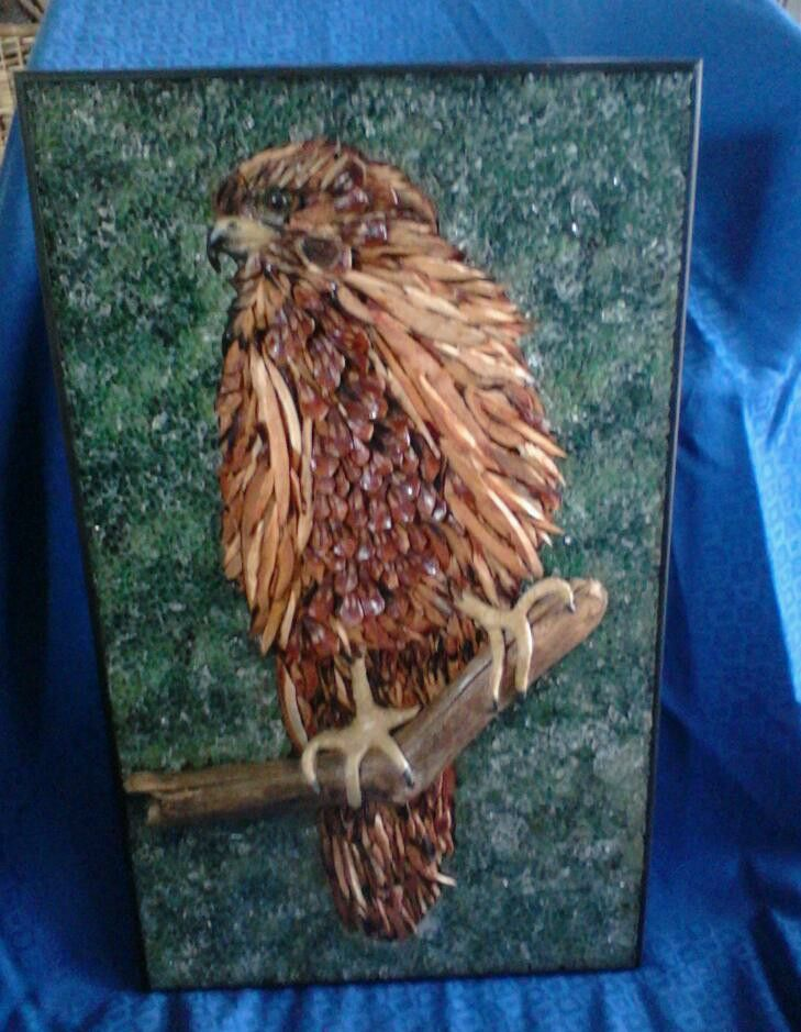 Mosaic with natural timbers by Jan Mcleod contemporary artist NZ