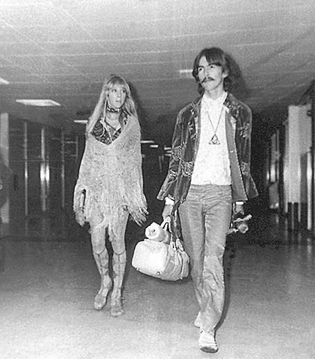 9th August 1967 - Pattie and George in the terminal at JFK on their way ...