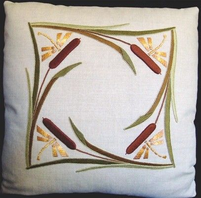 Hand Embroidered, Arts and Crafts, Craftsman, Cattails and Dragonflies Pillow