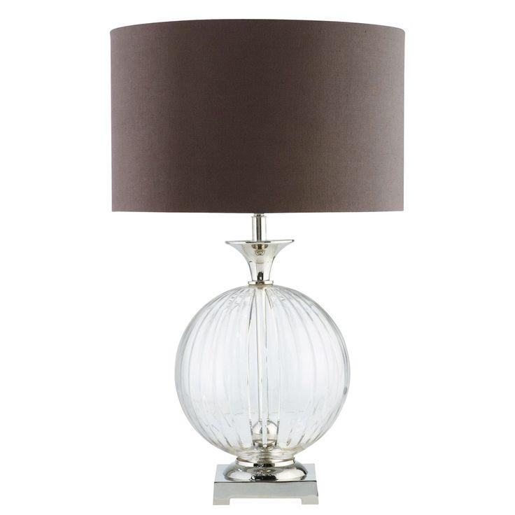 Lampada nera in vetro e abat-jour in cotone antracite   Maisons du Monde