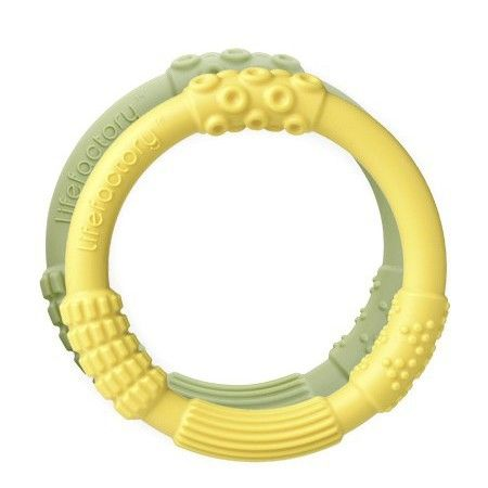 silicone teethers yellow/spring green