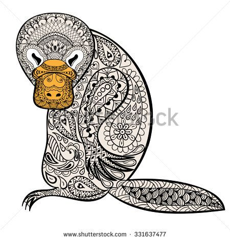 Zentangle Australian platypus totem for adult anti stress Coloring Page for art therapy, tribal illustration in doodle style. Color sketch with high details isolated on white background.
