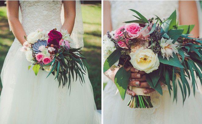 Букет необычной формы и состава: слегка растрепанный, со свисающей зеленью, многообразием цветочного набора, выдержанный в тонах оформления свадьбы.