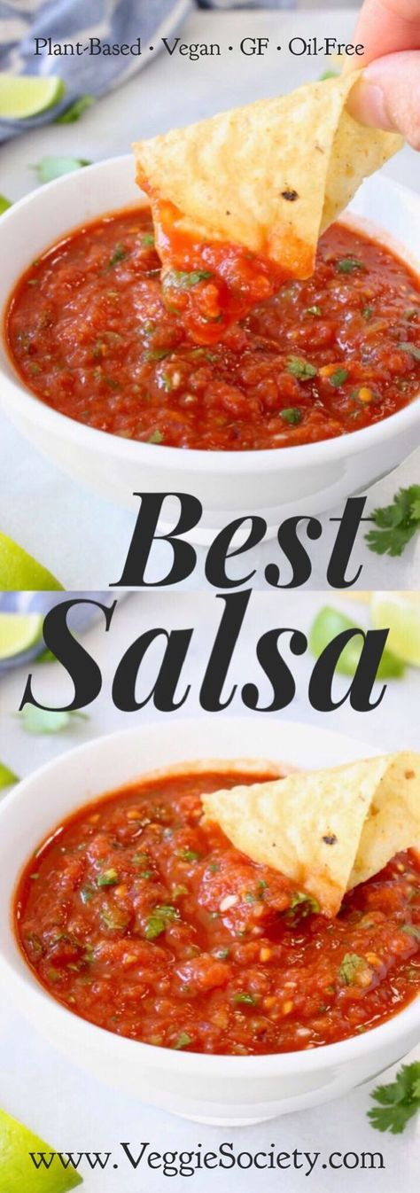 "the Best Homemade Salsa Recipe or "" Salsa Roja "". Easy, Healthy, Quick and Ready in 5 Minutes made with fire roasted tomatoes and an authentic touch of cumin 