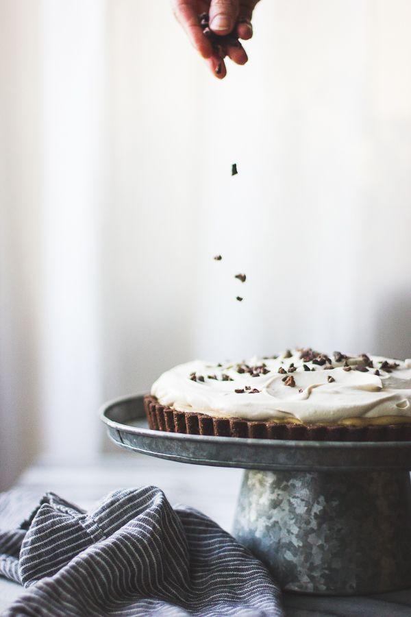 rum-kissed banana butterscotch cream tart in a cocoa-buckwheat crust (gluten free)