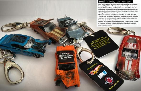 Hot Wheels: Do not drink and drive key chains
