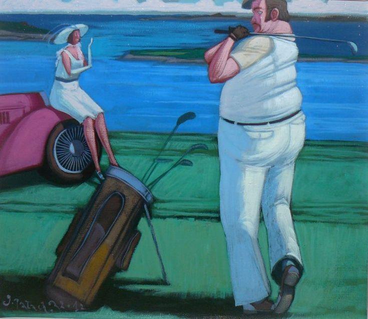 """Jacek PAŁUCHA - """"Golf party"""" - Obrazy, malarstwo współczesne, galeria sztuki Bielsko Biała"""