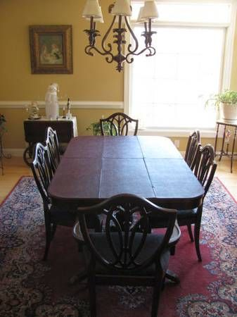 Antique dining room table& 6 chairs $350 chesterfield