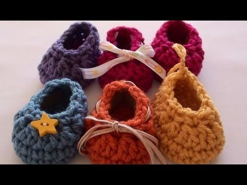 Craft Show Crochet Baby Booties - Newborn Size - YouTube