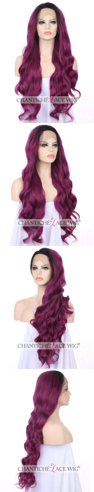 Wigs and Hairpieces: Purple Front Lace Wigs Heat Resistant Synthetic Hair Long Wavy Wig For Women 24 -> BUY IT NOW ONLY: $45.99 on eBay!