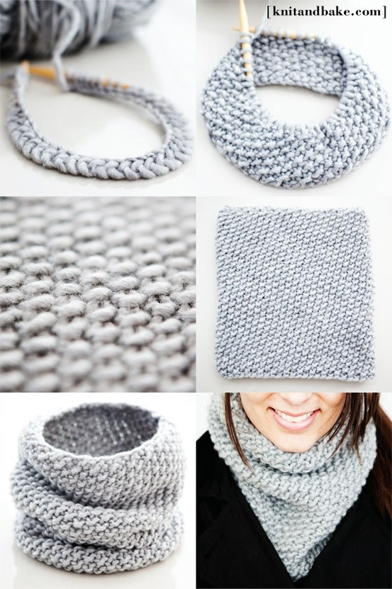 One Skein, One Night, Seed Stitch Tall Cowl [ Easy, Free Knitting Pattern ]