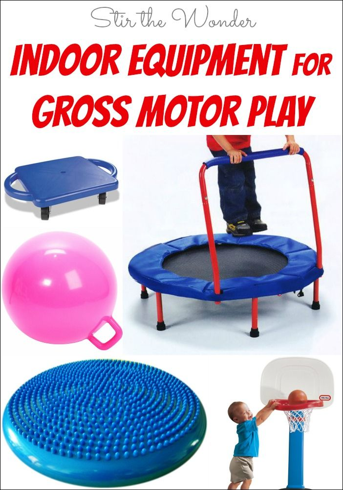 Here are some of our favorite indoor equipment and toys for gross motor play! Perfect for cold winter days when toddlers and preschoolers have lots of energy!