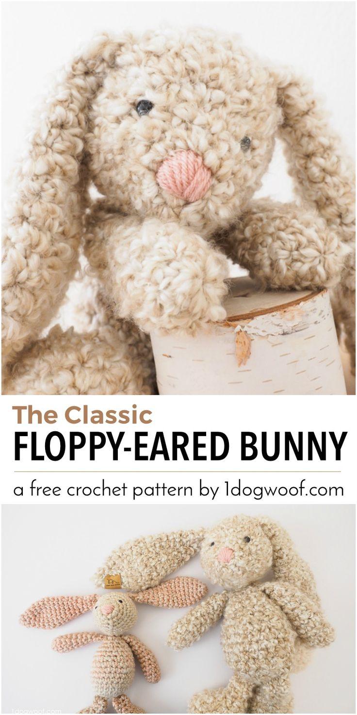 Aquí hay un patrón clásico simple, disquete de orejas de conejo de peluche de ganchillo que haría un gran regalo para Pascua, una ducha de bebé o un regalo de cumpleaños!  Ver el patrón LIBRE y al tutorial en 1dogwoof.com